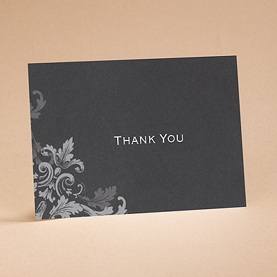 Flourishes - Black - Thank You Card and Envelope