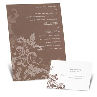 Flourishes - Chocolate Brown - Invitation