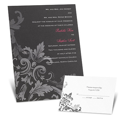 Flourishes - Black -  Invitation
