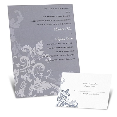 Flourishes - Slate Grey - Invitation
