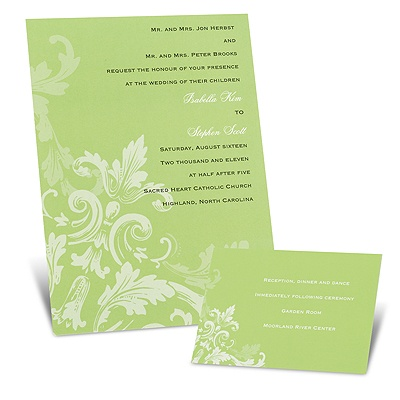 Flourishes - Spring Green - Invitation