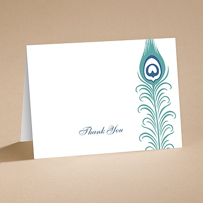 Exotic Peacock - Thank You Card with Verse and Envelope