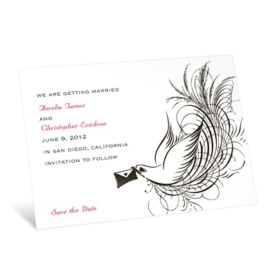 Swirling Bird - Black - Save the Date Card