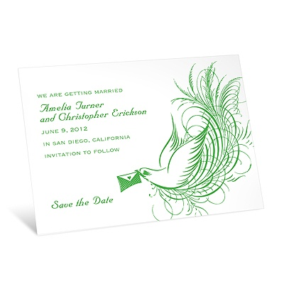 Swirling Bird  - Kelly Green - Save the Date Card