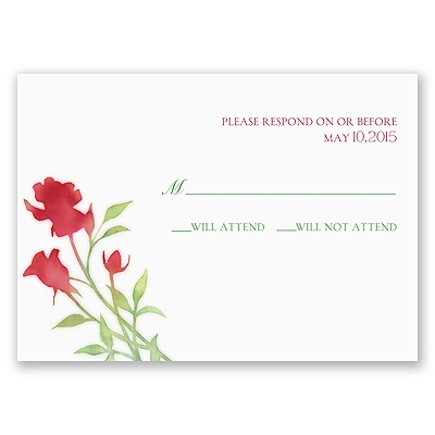 Watercolor Rosebuds - Merlot - Response Card and Envelope
