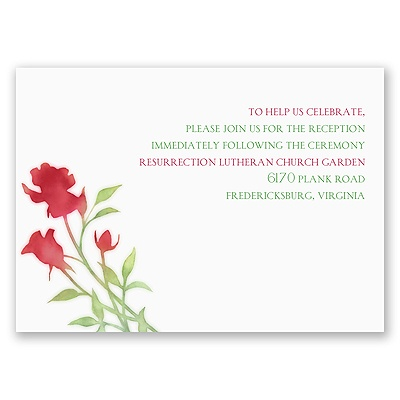Watercolor Rosebuds - Merlot - Reception Card