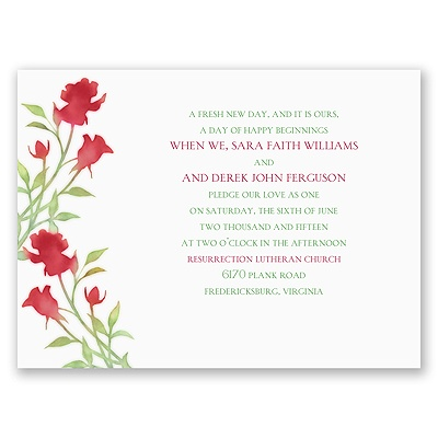 Watercolor Rosebuds - Merlot - Petite Invitation