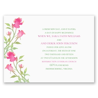 Watercolor Rosebuds - Posie Pink - Petite Invitation