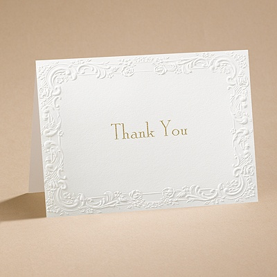 With a Flourish - Ecru Thank You Card with Verse and Envelope