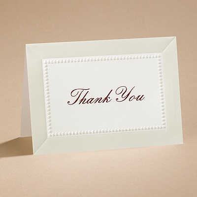 All Buttoned Up - Ecru Thank You Card with Verse and Envelope