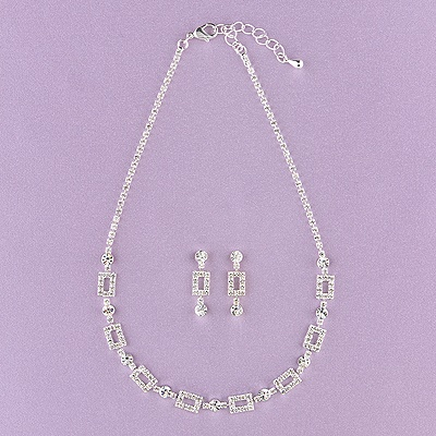 Rhinestone Links Jewelry Set