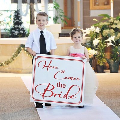 Here Comes The Bride Banner - Red