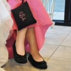Black Medium - Satin Ballet Shoes and Embroidered Pouch