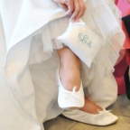 White Medium - Satin Ballet Shoes and Embroidered Pouch