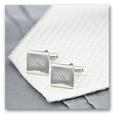 Square Engraved Cuff Links