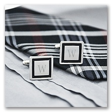 Black Border Engraved Cuff Links