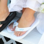 White Large - Embroidered Wedding Flip Flops