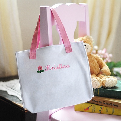 Flower Girl Embroidered Tote Bag