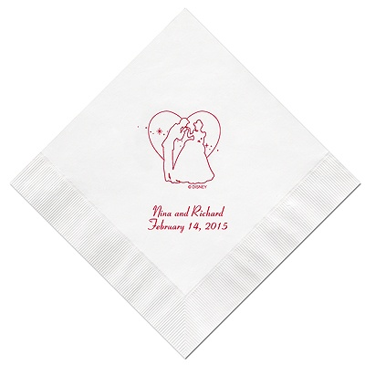 Cinderella - White Dinner Napkins in Foil