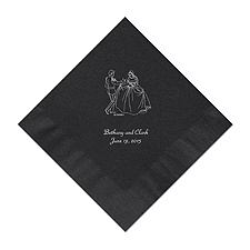 Cinderella - Black Dinner Napkins in Foil