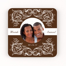 Fancy Filigree Personalized Square Coaster Set