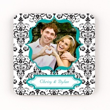 Damask Frame Personalized Square Coaster Set