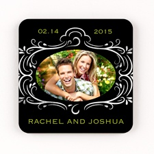 Chalkboard Style Personalized Square Coaster Set
