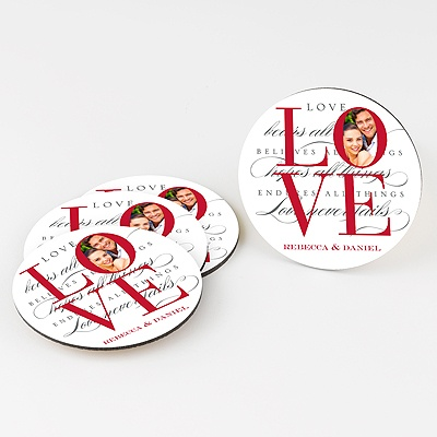 Love Personalized Round Coaster Set