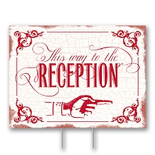 Red Reception Direction Yard Sign - Medium