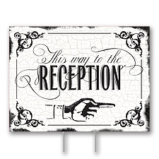 Black Reception Direction Yard Sign - Medium