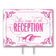 Fuchsia Reception Direction Yard Sign - Medium