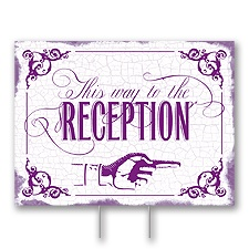 Purple Reception Direction Yard Sign - Medium