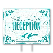 Peacock Reception Direction Yard Sign - Medium