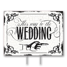 Black Wedding Direction Yard Sign - Medium
