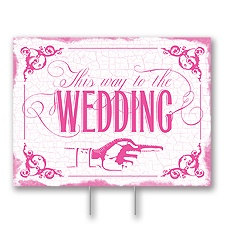 Fuchsia Wedding Direction Yard Sign - Medium