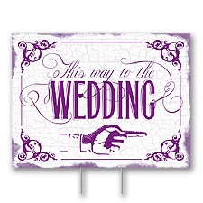 Purple Wedding Direction Yard Sign - Medium