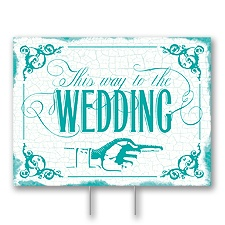 Peacock Wedding Direction Yard Sign - Medium