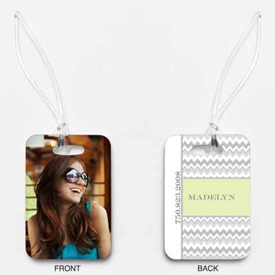 Chic Chevron - Honeydew - Photo Luggage Tag