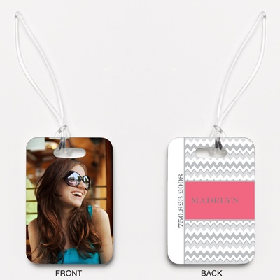 Chic Chevron - Posie Pink - Photo Luggage Tag