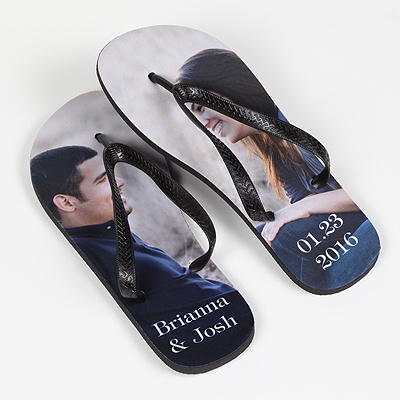 Women's Photo Flip Flops - Black Straps - Large