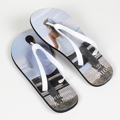 Women's Photo Flip Flops - White Straps - Large