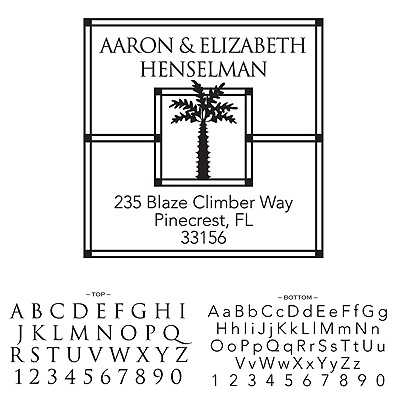 Personalized Self-Inking Address Stamp - Palm Tree Design