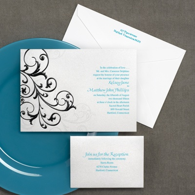 Swirling Black Filigree - Invitation