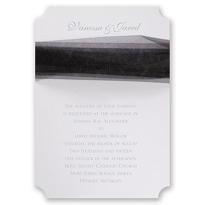 White Modern Veil - Black Tulle - Invitation