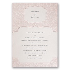 Faded Pink Filigree - Invitation