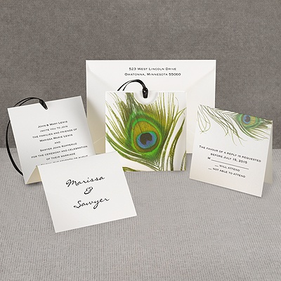 Petite Peacock Feather - Invitation