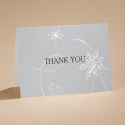 Silver Snowfall - Thank You Card and Envelope