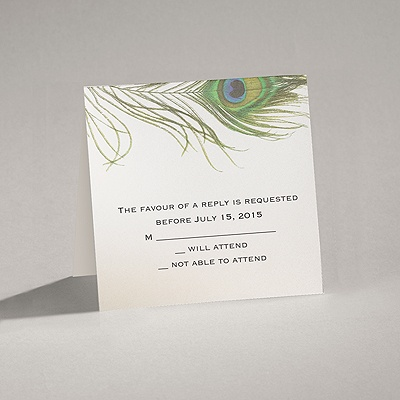 Petite Peacock Feather - Response Card and Envelope