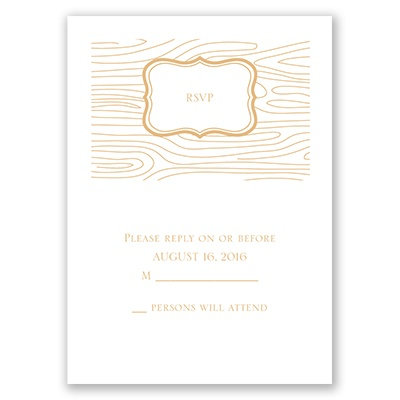 Wood Grain Placard - Response Card and Envelope