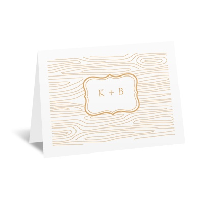 Wood Grain Placard - Note Card and Envelope